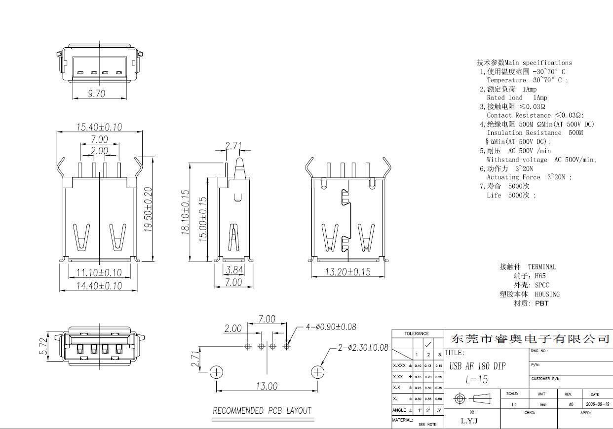 USB AF180度卷边弯脚L=15.0的图片
