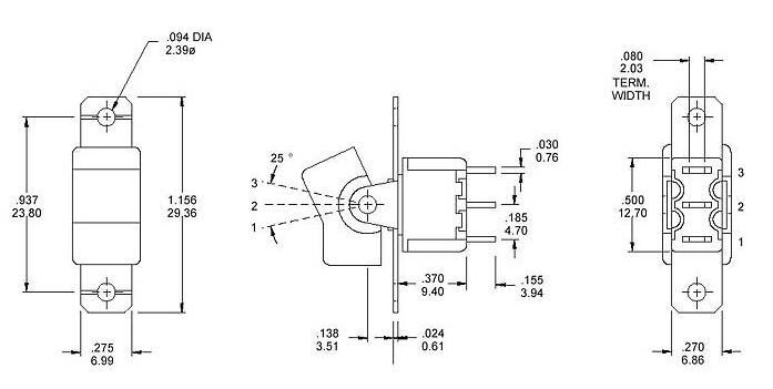 RS8-102R1三脚两档 焊脚的图片